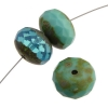 Fire polished 17mm Donut Mix Aqua Opal Green Travertine